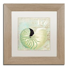 """Color Bakery 'Turquoise Beach I' Matted Framed Art, 11"""" x 11"""""""
