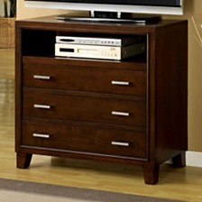3 Drawers Contemporary Style Media Chest, Cherry Brown