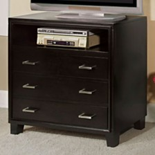 3 Drawer And 1 Open shelved Contemporary Media Chest, Espresso Brown