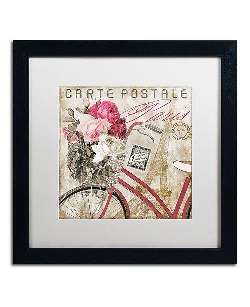 """Trademark Global Color Bakery 'Postale Paris I' Matted Framed Art, 16"""" x 16"""""""
