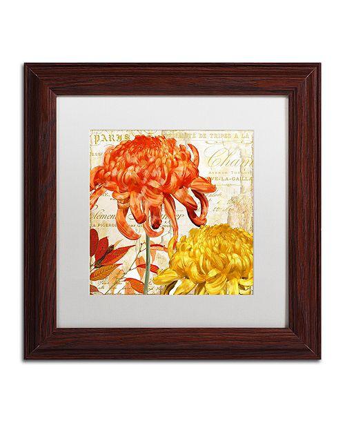 "Trademark Global Color Bakery 'Chrysanthemums I' Matted Framed Art, 11"" x 11"""