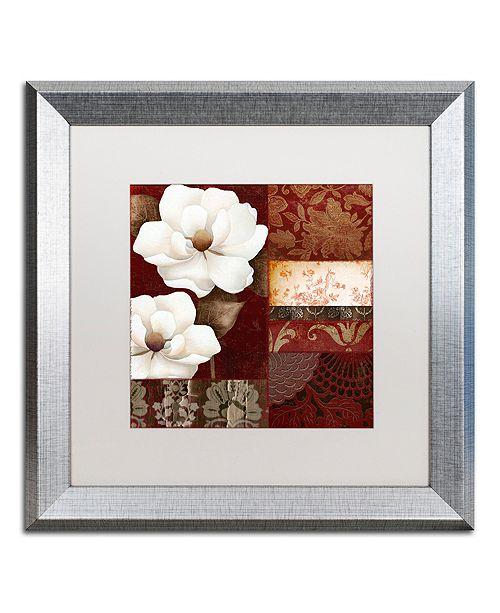 "Trademark Global Color Bakery 'Flores Blancas Iii' Matted Framed Art, 16"" x 16"""