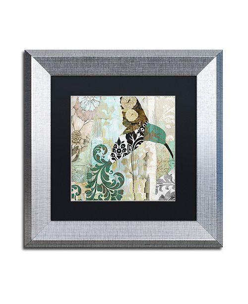 "Trademark Global Color Bakery 'Hummingbird Batik I' Matted Framed Art, 11"" x 11"""
