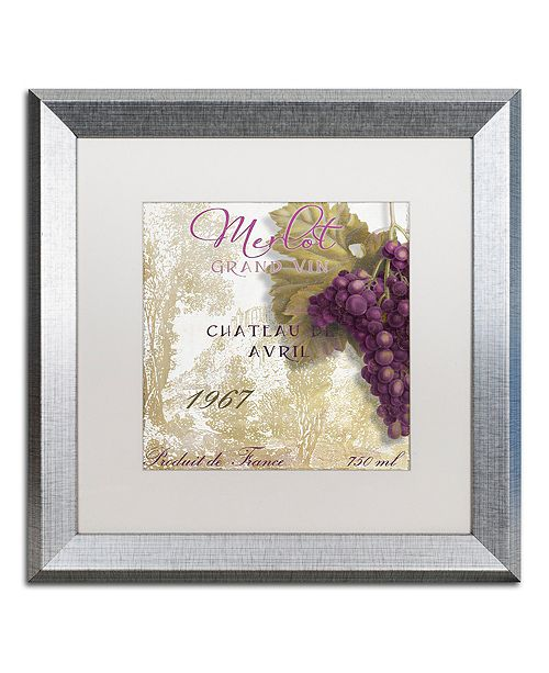 "Trademark Global Color Bakery 'Grand Vin Merlot' Matted Framed Art, 16"" x 16"""