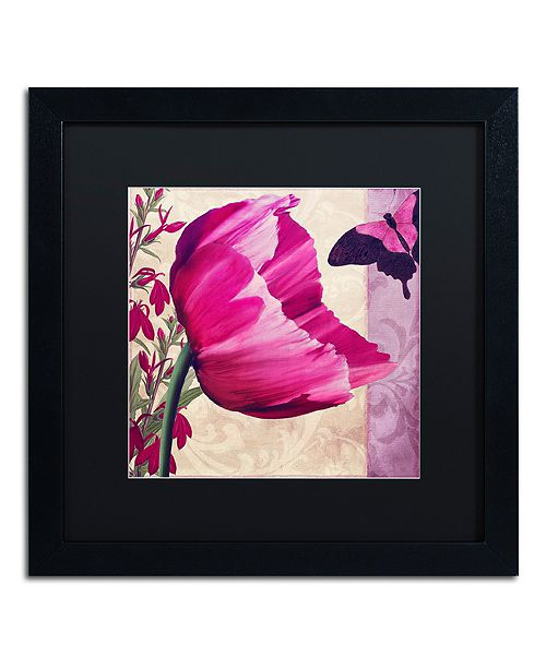 "Trademark Global Color Bakery ' Pink Poppy Ii ' Matted Framed Art, 16"" x 16"""