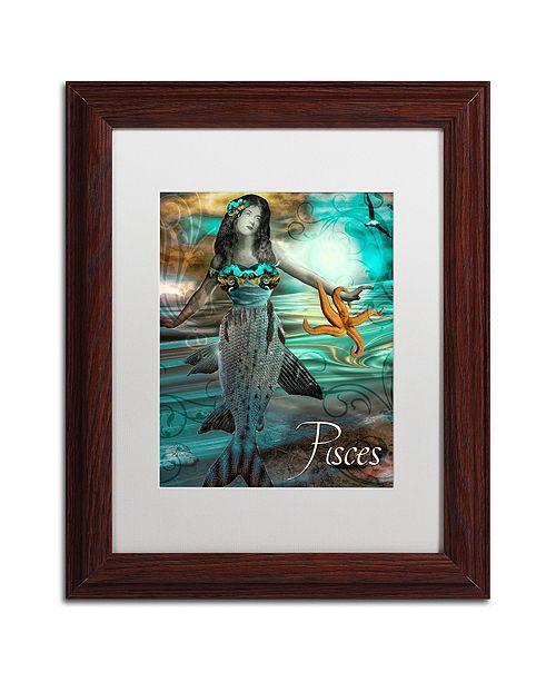 "Trademark Global Color Bakery 'Art Nouveau Zodiac Pisces' Matted Framed Art, 11"" x 14"""