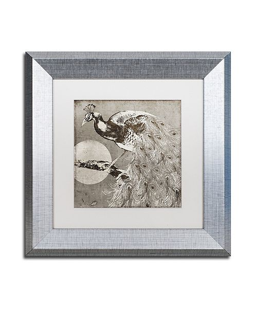 "Trademark Global Color Bakery 'Moon Peacock' Matted Framed Art, 11"" x 11"""