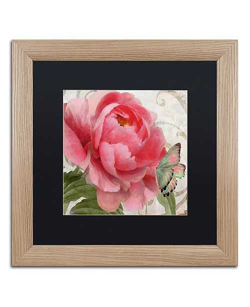 """Trademark Global Color Bakery 'Apricot Peonies Ii' Matted Framed Art, 16"""" x 16"""""""