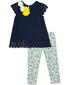 Rare Editions Baby Girls 2-Pc. Lace Tunic & Floral-Print Leggings Set