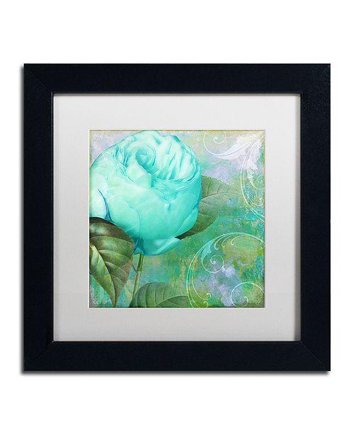 """Trademark Global Color Bakery 'Aqua Rose I' Matted Framed Art, 11"""" x 11"""""""