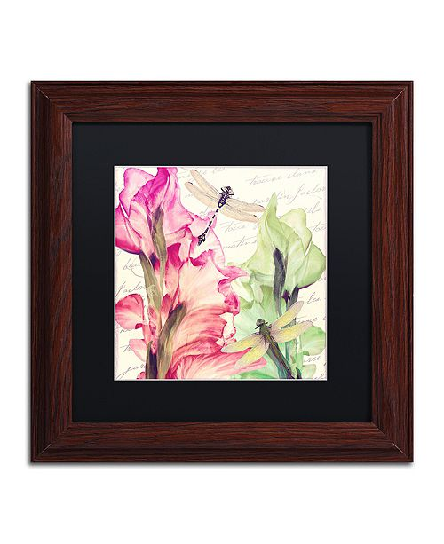 "Trademark Global Color Bakery 'Dragonfly Morning Ii' Matted Framed Art, 11"" x 11"""