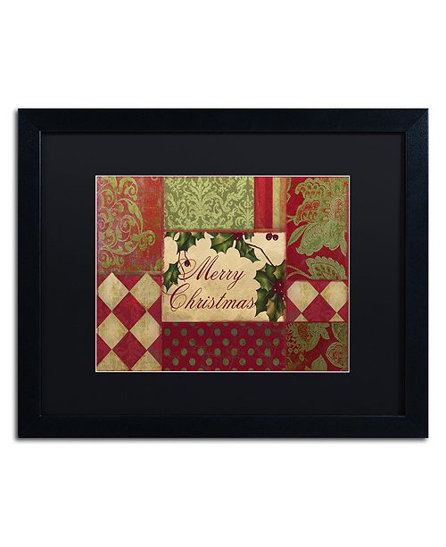"""Trademark Global Color Bakery 'Merry Christmas Patchwork I' Matted Framed Art, 16"""" x 20"""""""