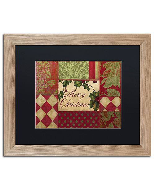 "Trademark Global Color Bakery 'Merry Christmas Patchwork I' Matted Framed Art, 16"" x 20"""