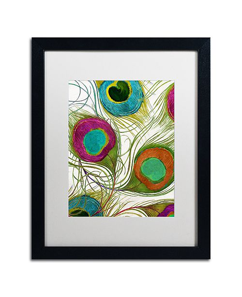 """Trademark Global Color Bakery 'Peacock Feathers Ii' Matted Framed Art, 16"""" x 20"""""""