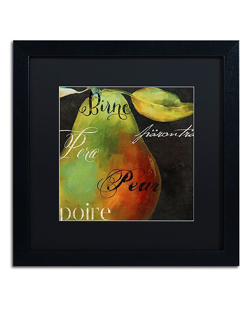 "Trademark Global Color Bakery 'Painted Pear I' Matted Framed Art, 16"" x 16"""