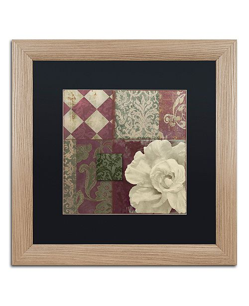 "Trademark Global Color Bakery 'Patch Work Brocade Ii' Matted Framed Art, 16"" x 16"""