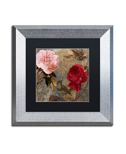 """Trademark Global Color Bakery 'Bird And Roses' Matted Framed Art, 11"""" x 11"""""""