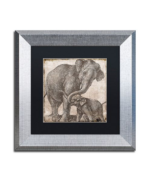 "Trademark Global Color Bakery 'Elephant 2' Matted Framed Art, 11"" x 11"""