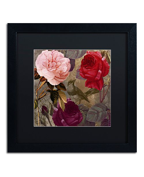 "Trademark Global Color Bakery 'Birds And Roses' Matted Framed Art, 16"" x 16"""