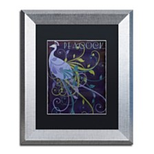 """Color Bakery 'Peacock Nouveau Ii' Matted Framed Art, 11"""" x 14"""""""