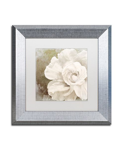 "Trademark Global Color Bakery 'Petals Impasto Ii' Matted Framed Art, 11"" x 11"""