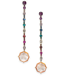 kate spade new york Gold-Tone Multi-Crystal Linear Drop Earrings