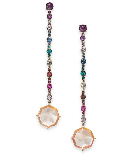 0b92e9b360d39 kate spade new york Gold-Tone Multi-Crystal Linear Drop Earrings ...