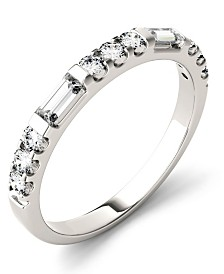 Moissanite Round and Baguette Stackable Ring (1/2 ct. tw. Diamond Equivalent) in 14k White Gold