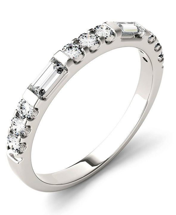 Charles & Colvard Moissanite Round and Baguette Stackable Ring (1/2 ct. tw. Diamond Equivalent) in 14k White Gold