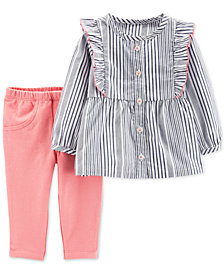 Carter's 2-Pc. Baby Girls Striped Top & Pants Set