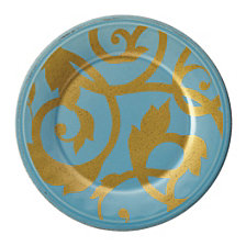 Rachael Ray Dinnerware Gold Scroll Agave Blue 8-Inch Salad Plate