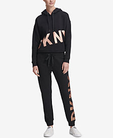 DKNY Sport Cropped Fleece Hoodie & Joggers, Created for Macy's