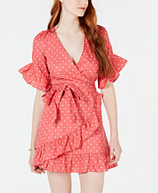 Material Girl Juniors' Printed Ruffled Faux-Wrap Dress, Created for Macy's