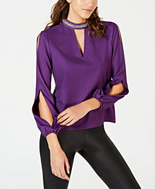 XOXO Juniors' Embellished Split-Sleeve Blouse