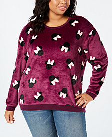 Disney Trendy Plus Size Minnie Mouse-Print Fuzzy Sweatshirt