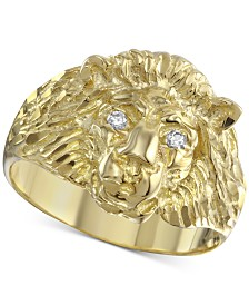 Diamond Accent Lion Ring in 10k Gold