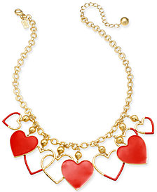 "kate spade new york Gold-Tone Color-Coated Heart Statement Necklace, 17"" + 3"" extender"