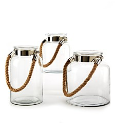 Two's Company Rope Handle Lanterns, Set of 3
