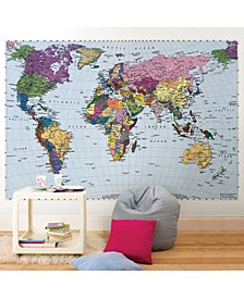 "World Map Wall Mural, 8' 10"" x 6' 2"""