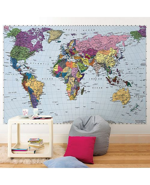 Brewster Home Fashions World Map Wall Mural