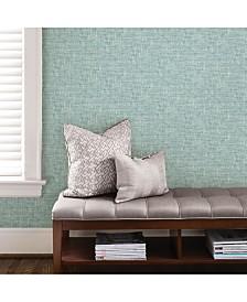 Aqua Poplin Texture Peel And Stick Wallpaper