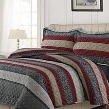 Alpine Knit Cotton Flannel Printed Oversized Queen Quilt Set