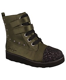 Olive Satin Combat Boot