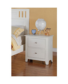 Pine Wood Night Stand With 2 Drawers, White