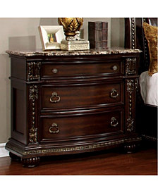 Traditional Style Night Stand, Brown Cherry