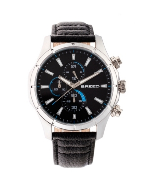 Breed Quartz Lacroix Chronograph Silver And Black Genuine Leather Watches 47mm