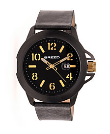 Breed Quartz Bryant Black And Gold Genuine Leather Watches 44mm