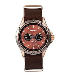 Quartz Dixon Bronze And Brown Genuine Leather Watches 43mm