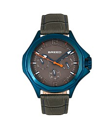 Breed Quartz Tempe Gray And Blue Genuine Leather Watches 43mm