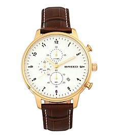 Quartz Holden Chronograph Gold And Brown Genuine Leather Watches 45mm
